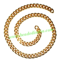 Gold Plated Metal Chain, size: 1.5x6.5mm, approx 10.6 meters in a Kg.