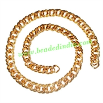 Gold Plated Metal Chain, size: 1x9mm, approx 13 meters in a Kg.