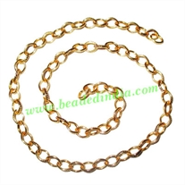 Gold Plated Metal Chain, size: 1x6mm, approx 34.6 meters in a Kg.