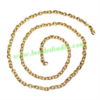 Gold Plated Metal Chain, size: 0.5x3mm, approx 52.6 meters in a Kg.
