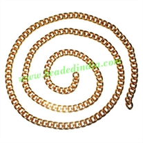 Gold Plated Metal Chain, size: 1x6mm, approx 14.9 meters in a Kg.