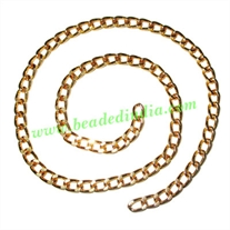 Gold Plated Metal Chain, size: 1x5mm, approx 22.1 meters in a Kg.