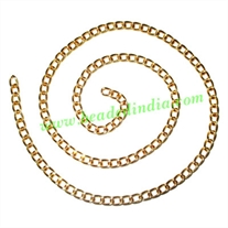 Gold Plated Metal Chain, size: 1x4mm, approx 36.3 meters in a Kg.