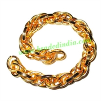 Gold Plated Metal Chain, size: 2x11mm, approx 4.6 meters in a Kg.