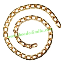 Gold Plated Metal Chain, size: 1.5x7mm, approx 13.8 meters in a Kg.