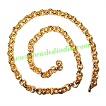 Gold Plated Metal Chain, size: 1.5x5mm, approx 19.5 meters in a Kg.