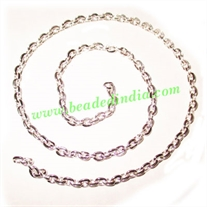 Silver Plated Metal Chain, size: 1x4mm, approx 42.7 meters in a Kg.