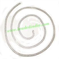 Silver Plated Metal Chain, size: 1x3.5mm, approx 39.2 meters in a Kg.