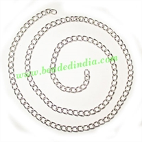 Silver Plated Metal Chain, size: 1x4mm, approx 36.9 meters in a Kg.