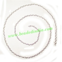 Silver Plated Metal Chain, size: 0.5x2mm, approx 151.9 meters in a Kg.