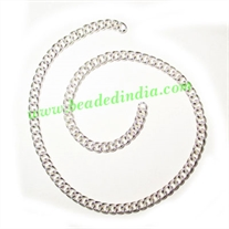 Silver Plated Metal Chain, size: 1x3mm, approx 62.1 meters in a Kg.