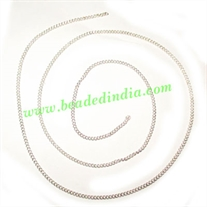 Silver Plated Metal Chain, size: 0.5x1mm, approx 186.6 meters in a Kg.