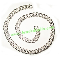Silver Plated Metal Chain, size: 2x7mm, approx 10.4 meters in a Kg.