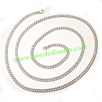 Silver Plated Metal Chain, size: 1x3mm, approx 36.3 meters in a Kg.