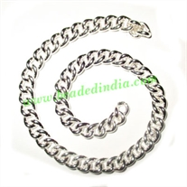 Silver Plated Metal Chain, size: 1.5x7mm, approx 10.9 meters in a Kg.