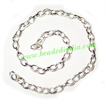 Silver Plated Metal Chain, size: 1x5mm, approx 30.9 meters in a Kg.