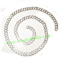 Silver Plated Metal Chain, size: 1.5x5mm, approx 19.9 meters in a Kg.