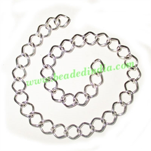 Silver Plated Metal Chain, size: 1x7mm, approx 29.4 meters in a Kg.