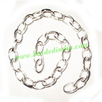 Silver Plated Metal Chain, size: 1.5x7mm, approx 19.3 meters in a Kg.