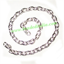Silver Plated Metal Chain, size: 1x6mm, approx 17 meters in a Kg.