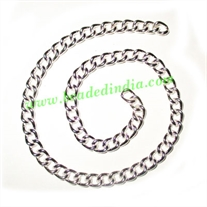 Silver Plated Metal Chain, size: 1x5mm, approx 19.4 meters in a Kg.