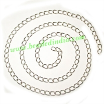 Silver Plated Metal Chain, size: 0.5x4mm, approx 53.3 meters in a Kg.