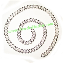 Silver Plated Metal Chain, size: 1x5mm, approx 19.2 meters in a Kg.