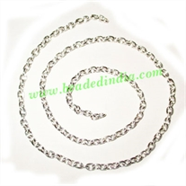 Silver Plated Metal Chain, size: 0.5x3mm, approx 52.6 meters in a Kg.