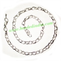 Silver Plated Metal Chain, size: 1x5mm, approx 34.2 meters in a Kg.