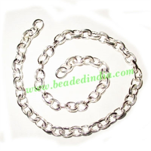 Silver Plated Metal Chain, size: 1.5x6mm, approx 20.6 meters in a Kg.