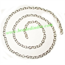 Silver Plated Metal Chain, size: 1x4mm, approx 31.5 meters in a Kg.