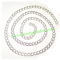 Silver Plated Metal Chain, size: 1x4mm, approx 36.3 meters in a Kg.