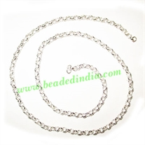 Silver Plated Metal Chain, size: 0.5x2.5mm, approx 73.9 meters in a Kg.
