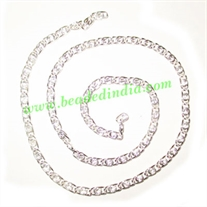 Silver Plated Metal Chain, size: 1x3mm, approx 46.4 meters in a Kg.