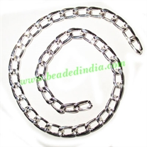 Silver Plated Metal Chain, size: 1.5x7mm, approx 13.8 meters in a Kg.