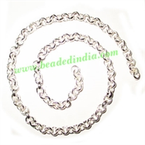Silver Plated Metal Chain, size: 1.5x5mm, approx 19.5 meters in a Kg.