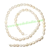 Fresh Water Pearl String, approx 63 pearls of size 4x6mm in a string