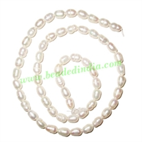 Fresh Water Pearl String, approx 57 pearls of size 5x7mm in a string