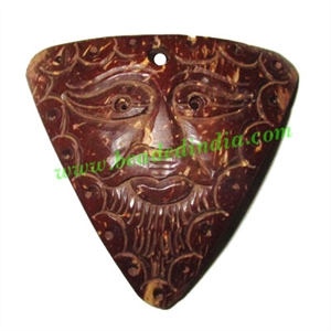 Handmade coconut shell wood Mahakaal pendants, size : 48x51x3mm