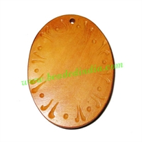 Handmade wooden fancy pendants, size : 51x38x6mm