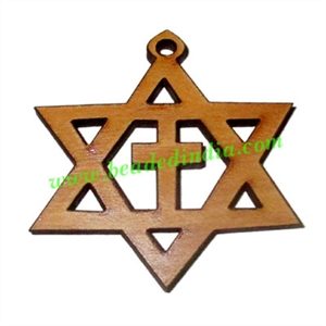 Handmade wooden star of david and cross pendants, size : 39x48x4mm