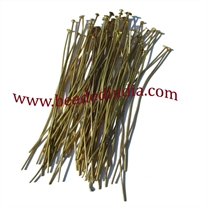 Gold Plated Headpin size: 2.5 inch (63 mm), head size : 2.5mm, weight: 0.18 grams.
