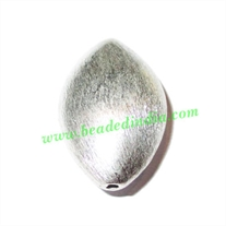 Silver Plated Brushed Beads, size: 30x19.5x13mm, weight: 7.87 grams.