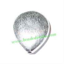 Silver Plated Brushed Beads, size: 25x20x9mm, weight: 4.54 grams.