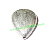 Silver Plated Brushed Beads, size: 18x14.5x6.5mm, weight: 2.66 grams.