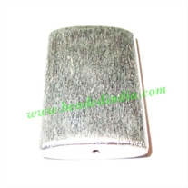 Silver Plated Brushed Beads, size: 40x28x10.5mm, weight: 14.98 grams.