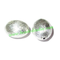 Silver Plated Brushed Beads, size: 13.5x11x9mm, weight: 1.41 grams.