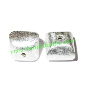 Silver Plated Brushed Beads, size: 12x12mm, weight: 2.41 grams.