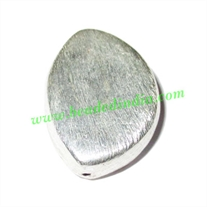 Silver Plated Brushed Beads, size: 27x20x9mm, weight: 5.25 grams.