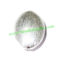 Silver Plated Brushed Beads, size: 25x17x10mm, weight: 3.43 grams.